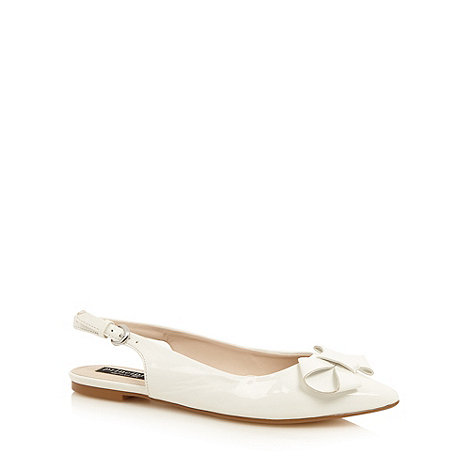 Principles by Ben de Lisi - Designer white patent bow detail slingback pumps
