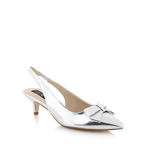 Principles by Ben de Lisi - Designer silver bow detail slingback mid court shoes