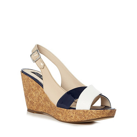 Principles by Ben de Lisi - Designer blue slingback wedge sandals