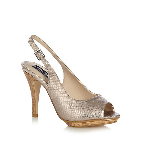 Principles by Ben de Lisi - Designer gold snakeskin textured high slingback court shoes
