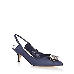 No. 1 Jenny Packham - Navy 'Leilani' sling back kitten heeled courts