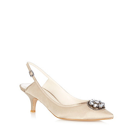 No. 1 Jenny Packham - Taupe +Leilani+ sling back kitten heeled courts
