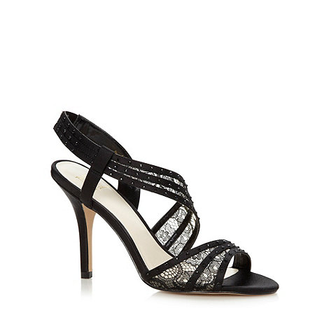 No. 1 Jenny Packham - Designer black asymmetric lace strap high sandals