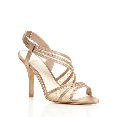 No. 1 Jenny Packham - Designer taupe asymmetric heeled sandals