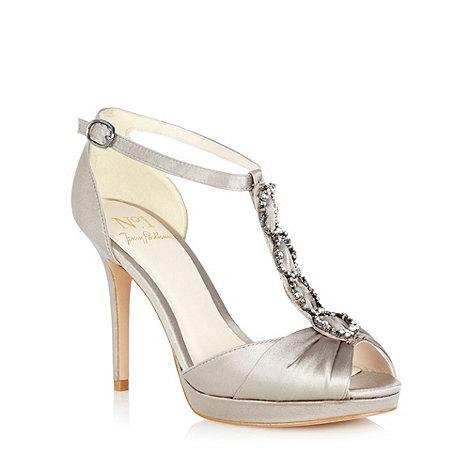No. 1 Jenny Packham - Silver +Lorelai+ jewel strap platform sandals