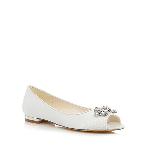 No. 1 Jenny Packham - Designer ivory lace and jewel trim ballet pumps