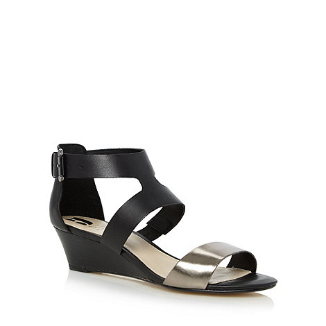 Betty Jackson.Black - Designer black leather low wedge sandals
