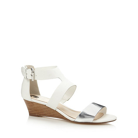 Betty Jackson.Black - Designer white leather low wedge sandals
