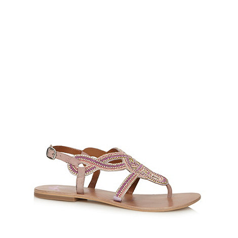 Butterfly by Matthew Williamson - Designer peach twist know embellished flat sandals