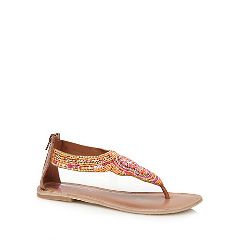 Butterfly by Matthew Williamson - Designer pink woven embellished flat sandals