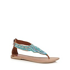 Butterfly by Matthew Williamson - Designer turquoise woven embellished flat sandals