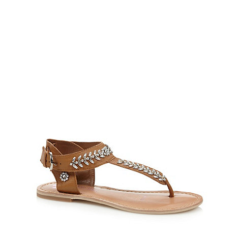Butterfly by Matthew Williamson - Designer tan leather embellished toe post sandals
