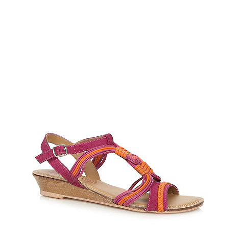 Butterfly by Matthew Williamson - Designer pink swirl low wedge heel sandals