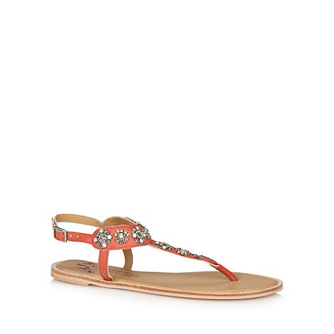 Butterfly by Matthew Williamson - Designer light orange leather diamante strap sandals