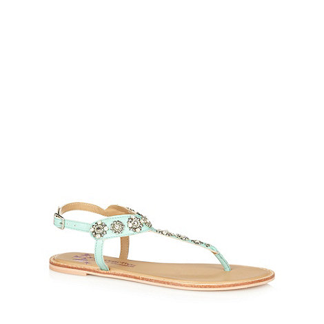 Butterfly by Matthew Williamson - Designer light green leather diamante strap sandals
