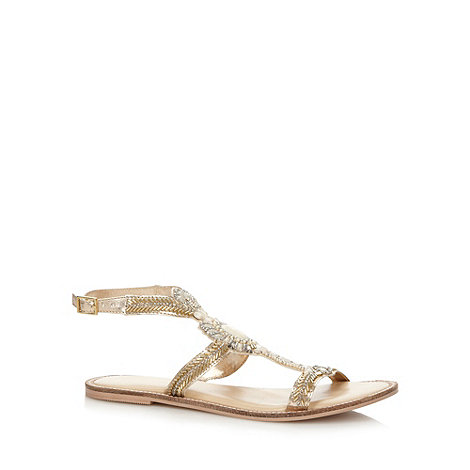 Butterfly by Matthew Williamson - Designer gold gem embellished sandals
