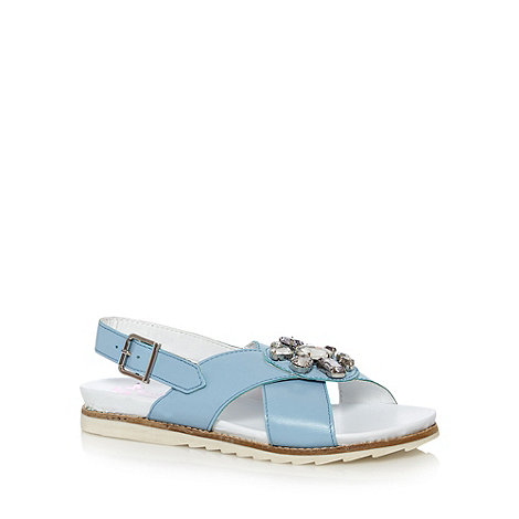 Butterfly by Matthew Williamson - Designer light blue leather embellished flat sandals