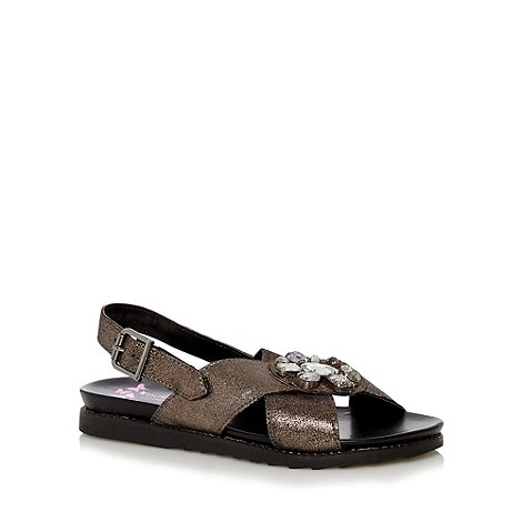 Butterfly by Matthew Williamson - Designer black shimmer leather embellished flat sandals