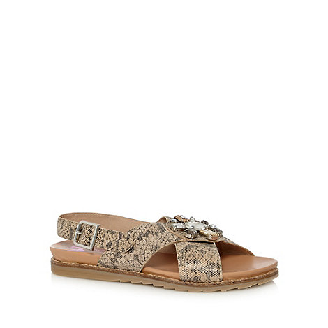 Butterfly by Matthew Williamson - Designer beige snake print leather embellished flat sandals