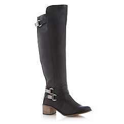H! by Henry Holland - Designer black high leg buckle boot
