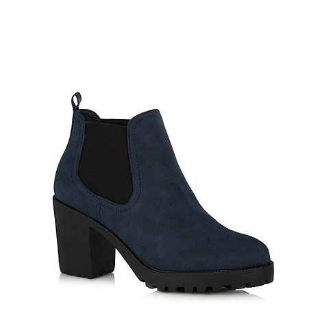H! by Henry Holland - Designer navy high heel ankle boots