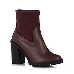 H! by Henry Holland - Designer dark red panel high ankle boots