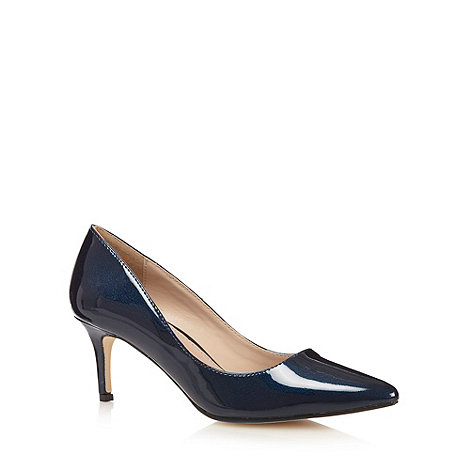 J by Jasper Conran - Designer navy patent pointed toe court shoes