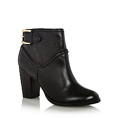 J by Jasper Conran - Designer black leather piped buckle detail high ankle boots