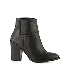 Betty Jackson.Black - Designer black leather block heel pointed toe ankle boot