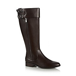 Betty Jackson.Black - Designer dark brown double buckle leather boots
