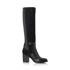 Betty Jackson.Black - Designer black mixed leather high heeled high leg boots