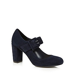 RJR.John Rocha - Designer navy suede buckle detail high court shoes