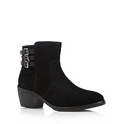 RJR.John Rocha - Designer black suede buckle strap low heel ankle boots
