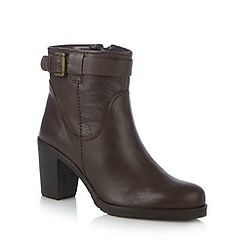 RJR.John Rocha - Designer chocolate leather buckle detail high ankle boots