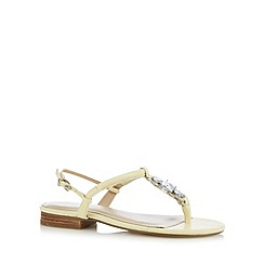 J by Jasper Conran - Designer light yellow faceted stone low heel sandals