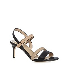 J by Jasper Conran - Designer black leather two tone strap mid sandals