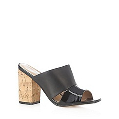 J by Jasper Conran - Designer black leather high cork heel sandals