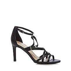 J by Jasper Conran - Designer black leather snakeskin strap high sandals