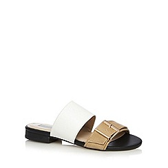 RJR.John Rocha - Designer natural leather buckled two tone strap mule sandals
