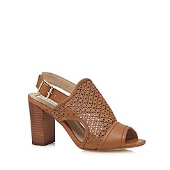 RJR.John Rocha - Designer tan leather laser cutout high heel sandals