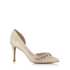 No. 1 Jenny Packham - Designer gold leather shimmer leaf embellished high court shoe