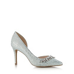 No. 1 Jenny Packham - Designer light blue leather shimmer leaf embellished high court shoe