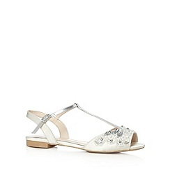 No. 1 Jenny Packham - Designer ivory embellished T-bar strap sandals