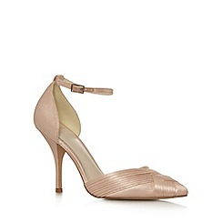 No. 1 Jenny Packham - Designer peach metallic pleated high court shoes