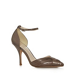 No. 1 Jenny Packham - Designer taupe metallic pleated high court shoes