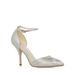 No. 1 Jenny Packham - Designer silver metallic pleated high court shoes