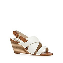 RJR.John Rocha - Designer white leather slingback mid wedges