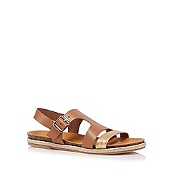 RJR.John Rocha - Designer tan leather two tone strap slingback sandals