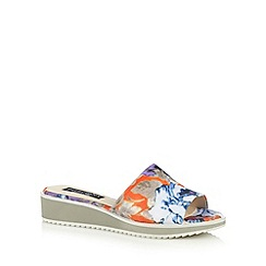 Principles by Ben de Lisi - Designer orange blurred floral mid heel sandals