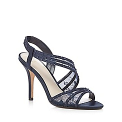 No. 1 Jenny Packham - Designer navy asymmetric strap high sandals